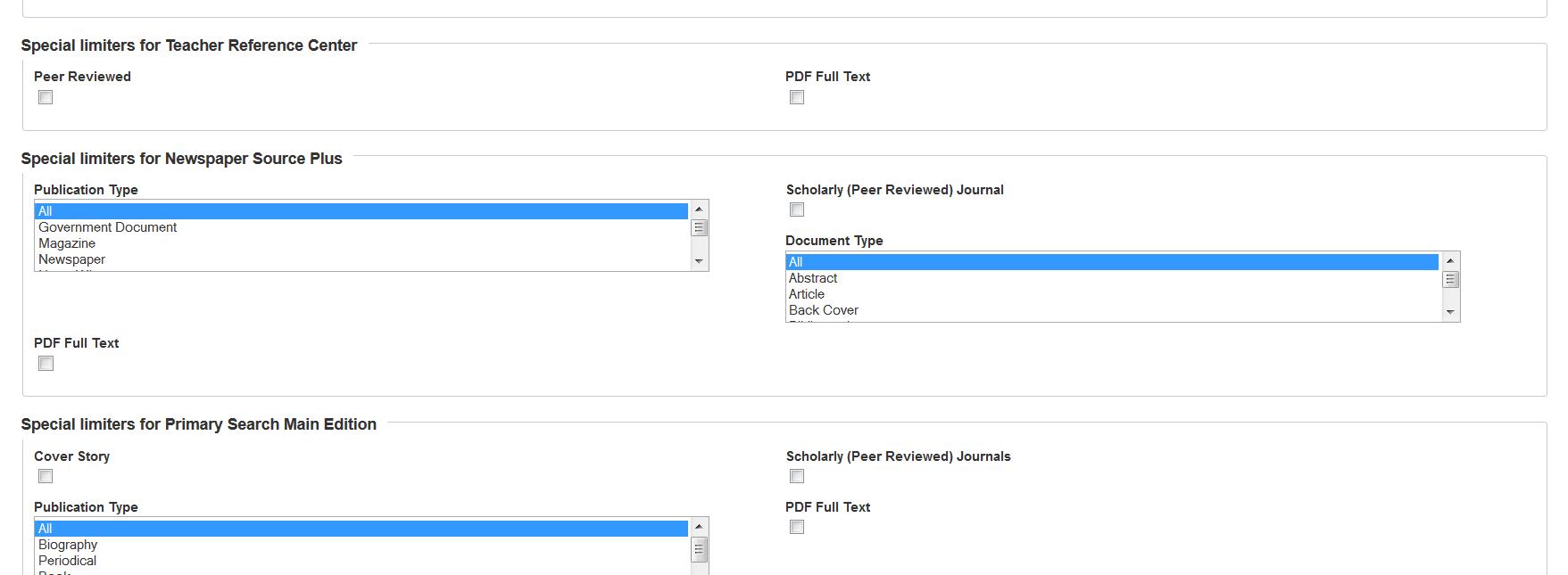 Advanced search in Explora interface.