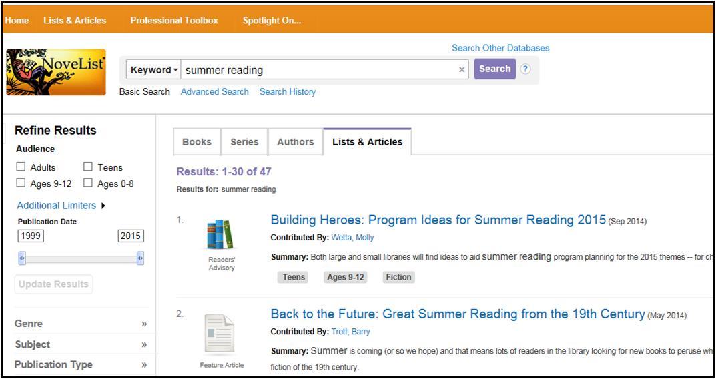 novelist summer reading
