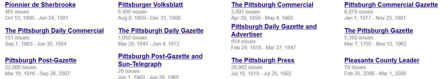 screenshot of Google News listing of Pittsburgh newspapers
