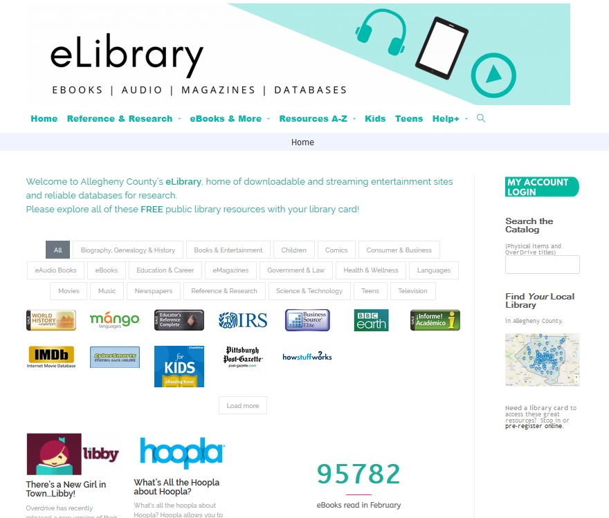 eLibrary snip home