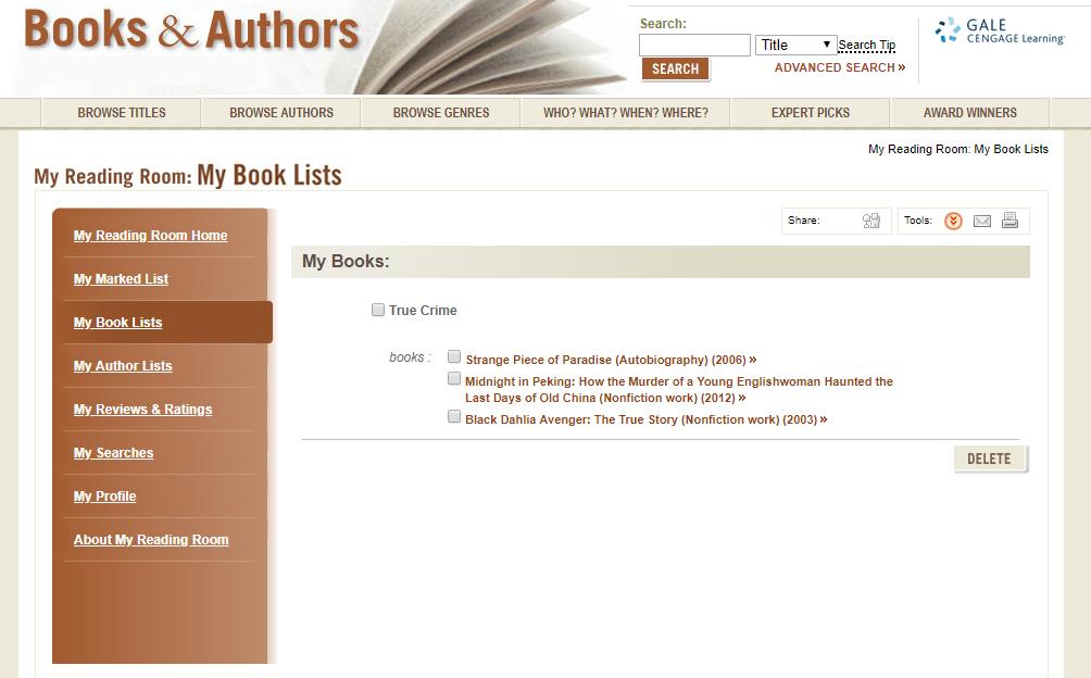 Titles in my Booklist