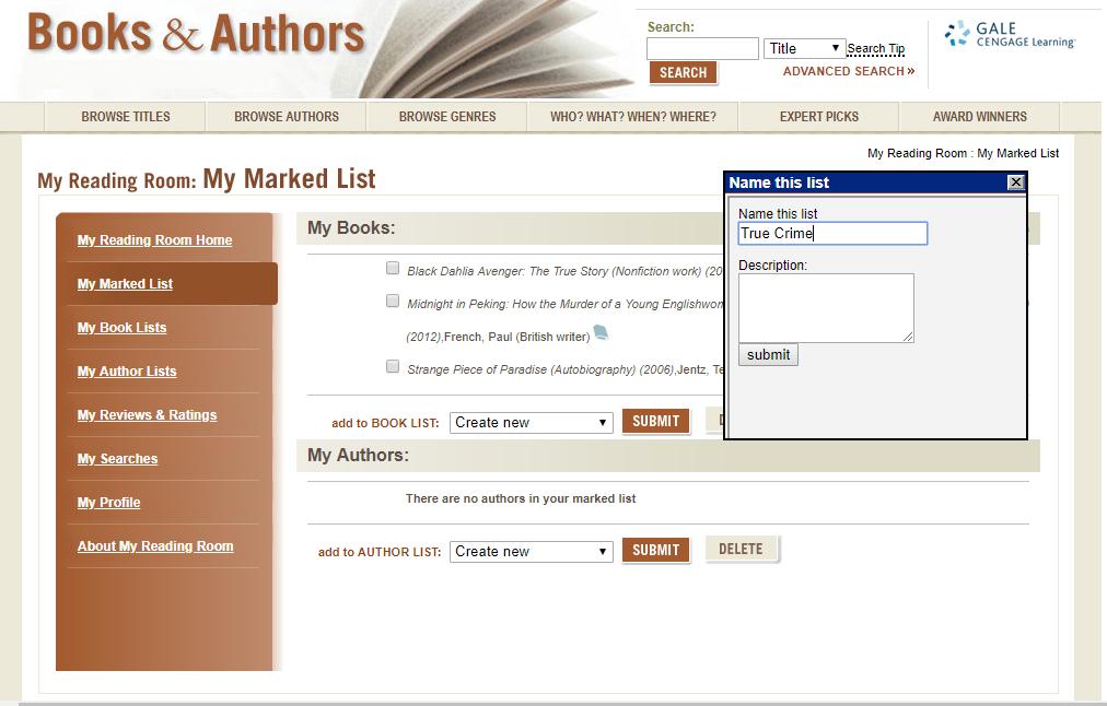 True Crime booklist