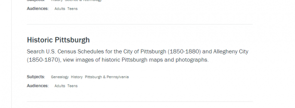 historic Pittsburgh text